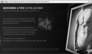 Screen Grab from the Abercrombie & Fitch Web Site